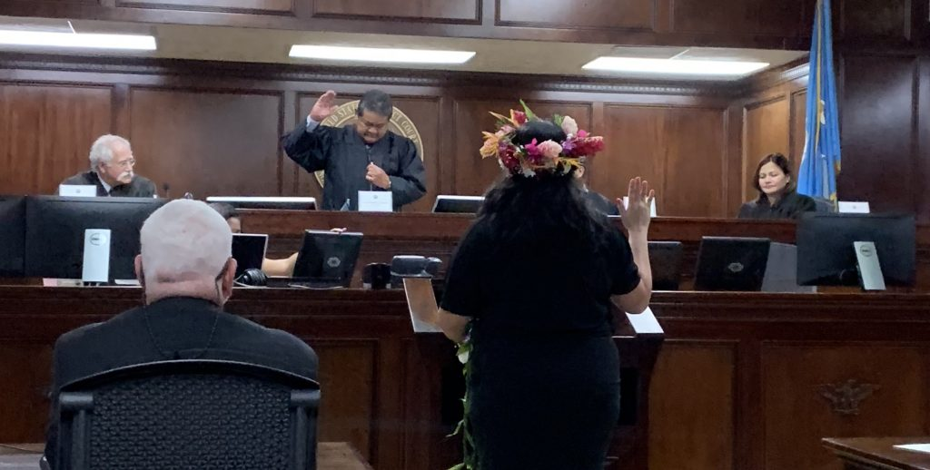 Chief Justice Alexandro C. Castro administered the oath of office to Gretchen A. Smith on April 6, 2019, at the U.S. District Court for the N.M.I.