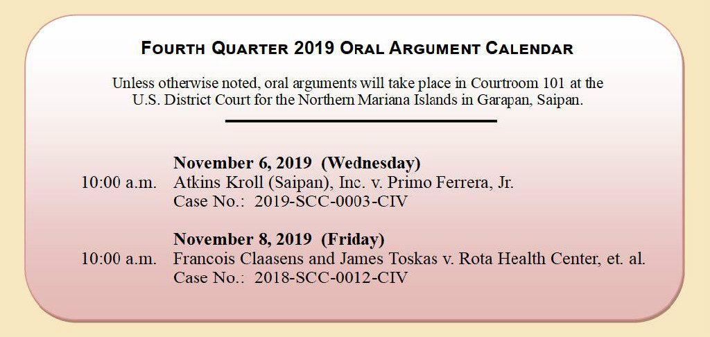 4th Quarter 2019 Oral Argument Calendar